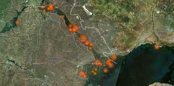На космоснимки попали десятки пожаров в Астраханской области