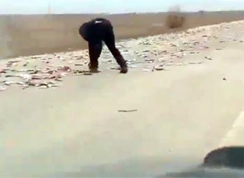 Автодорога Астрахань-Цветное оказалась засеянной рыбой