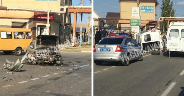 В Астрахани опрокинулась маршрутка с людьми