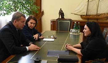Врио губернатора Сергей Морозов встретился с главой Астрахани Аленой Губановой
