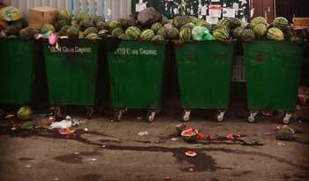 В Астрахани арбузами забили мусорные баки