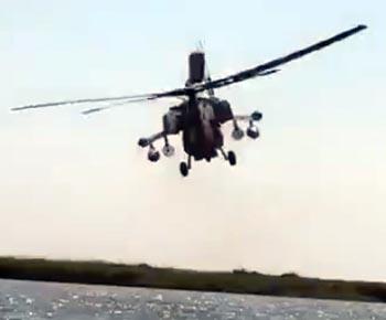 Боевой вертолёт перепугал рыбаков под Астраханью