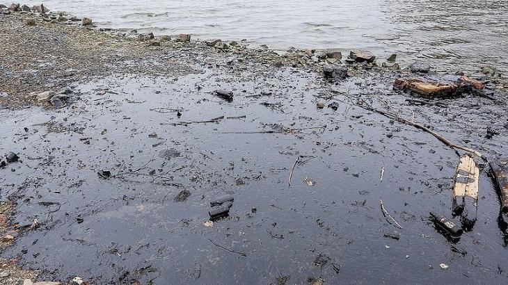 В Астрахани на Волге обнаружено нефтяное пятно