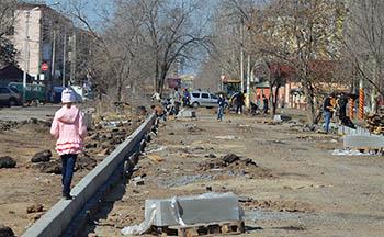 В Астрахани начались работы по соединению улиц Богдана Хмельницкого и Кирова. Фоторепортаж