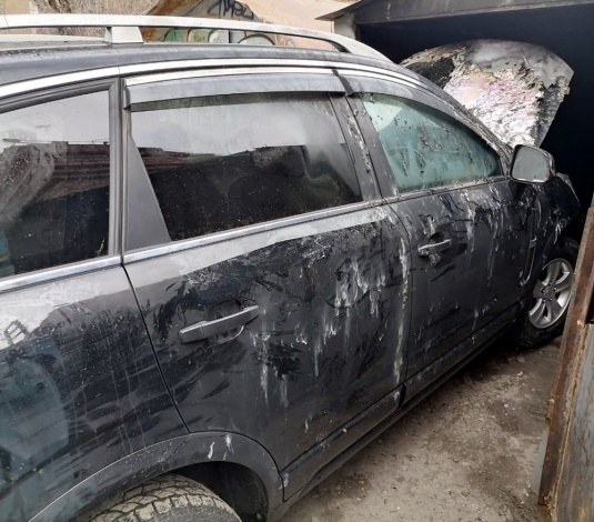 В центре Астрахани горел автомобиль