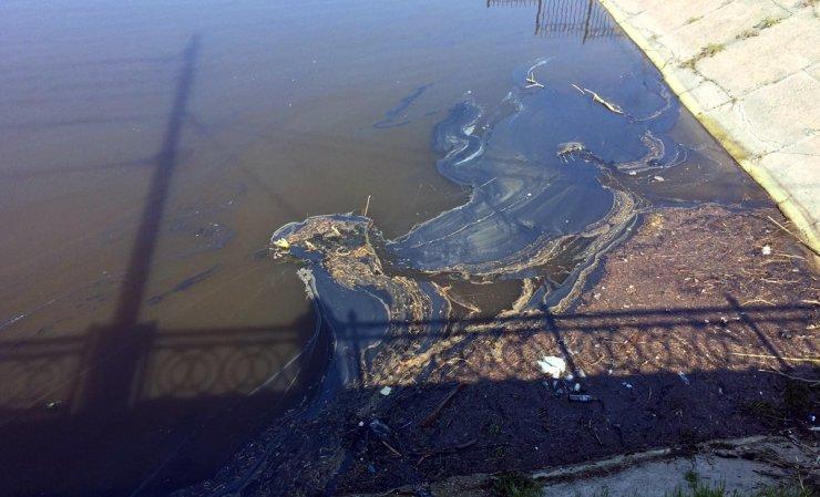 Стрелка Волги в центре Астрахани залита нефтепродуктами